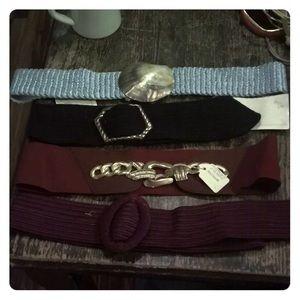 Vintage Belt Lot Seashell Elastic Leather